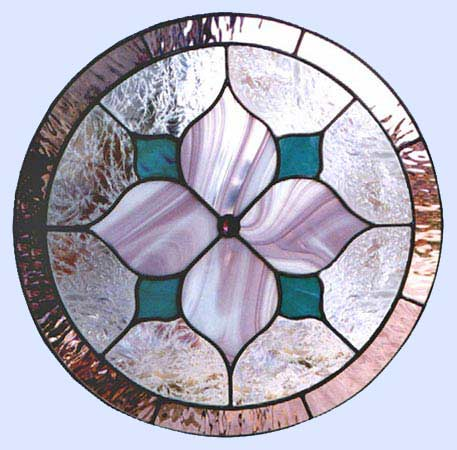Custom stained and leaded glass mauve Victorian–style circle window