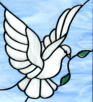 Applique Embroidery. Dove Of Peace With Olive Branch Stitched On