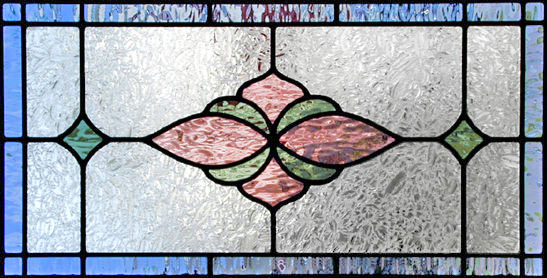 stained and leaded glass horizontal panel JS08colr1h