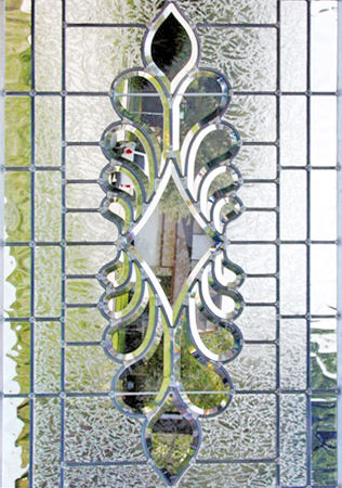 Custom leaded glass bevel window J13P4