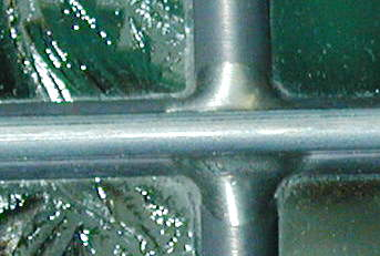 photo of rebar used on a leaded glass window