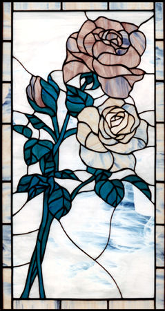 2ROSES TWO ROSES STAINED AND LEADED GLASS WINDOW CUSTOM AT BY DESIGN