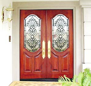 2 doors with leaded glass bevel windows. \