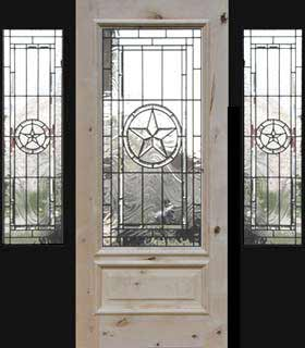 Texas Star Door 2 Sidelight Leaded Glass Bevel Window