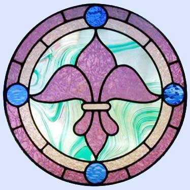 Custom stained and leaded glass Fleur de Lis circle window