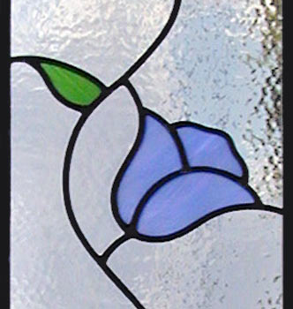 Closeup of 3 blue tulips Leaded Stained Glass window custom glass design