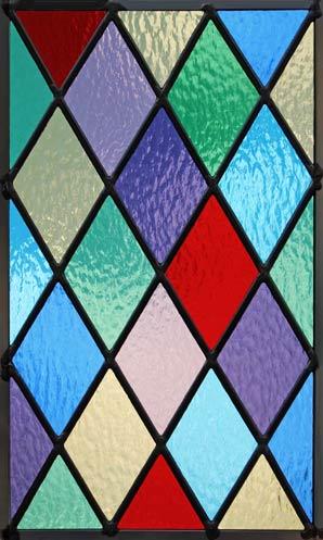 Colored Diamonds Leaded Stained Glass Window Custom Glass
