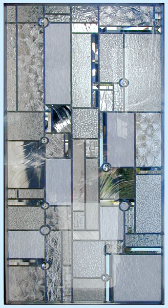 Custom abstract stained and leaded glass door window inspired by Frank Lloyd Wright