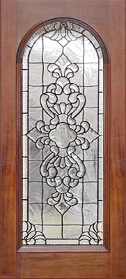 leaded glass beveled inf arched door. \