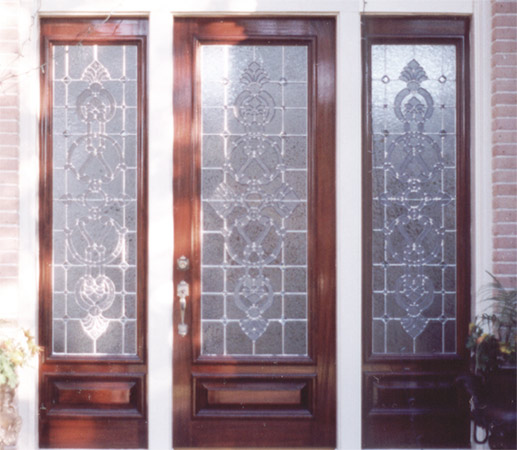 Custom leaded glass entry door 2 sidelights intricate for All side windows