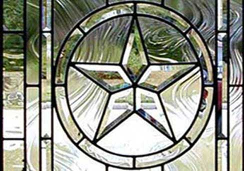 Texas Star custom leaded glass bevelled window