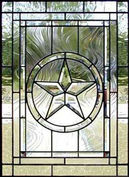 Texas Star custom leaded glass bevel window