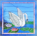 Swan leaded stained glass window