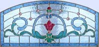 Custom stained and leaded glass Victorian style arch transom window