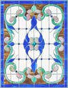 Custom stained and leaded glass Vict97p Victorian style window