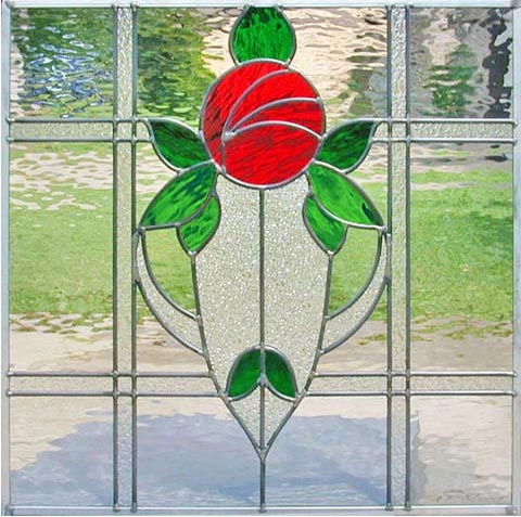 VICTROSEP VICTORIAN STYLE LEADED STAINED GLASS RED ROSE WINDOW CUSTOM AT BY DESIGN
