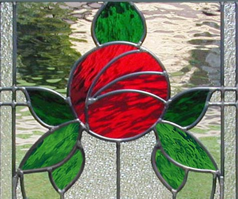 Closeup Of Custom Stained Glass Victorian Style Rose Window