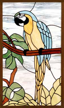 Blue macaw custom stained and leaded glass parrot window