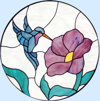 stained glass hummingbird circle window