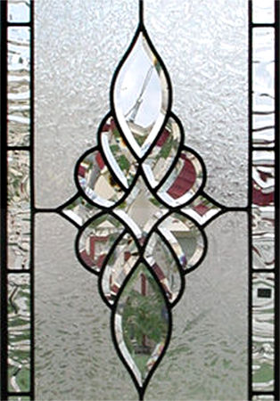 HG340T leaded glass bevel transom window
