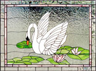 Swan 3 stained glass window