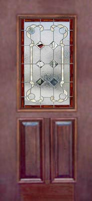 View Victorian style stained and leaded glass door window