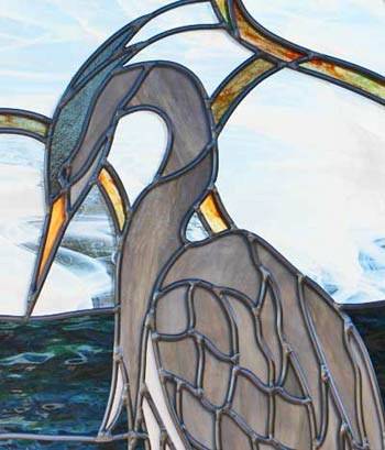 blue heron stained and leaded glass window closeup