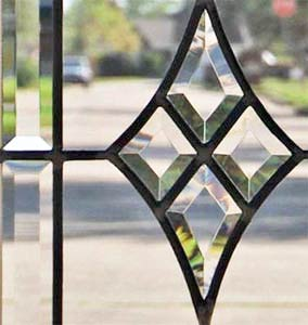 CH76 leaded glass horizontal beveled transom window custom glass design