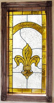 Fleur De Lis Stained And Leaded Gl Window
