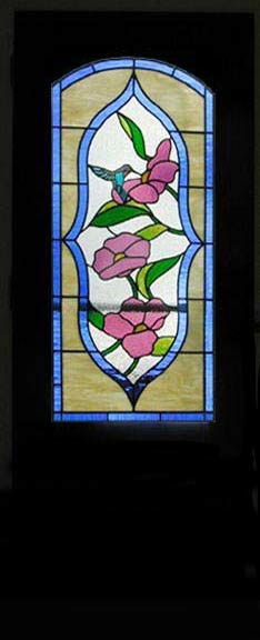 Arched Door With Hummingbird And Flower Leaded Stained Glass Custom