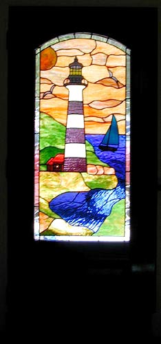 Lthsed Door With Stained And Leaded Glass Lighthouse