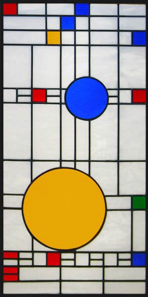 skylight with abstract stained and leaded glass windows