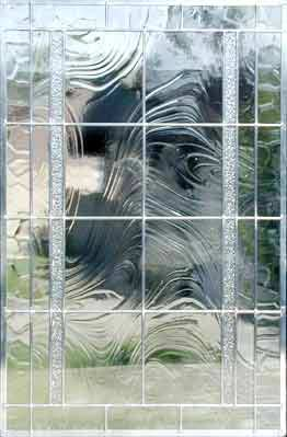 Big116 Large Custom Leaded Glass Window Of Clear Textured