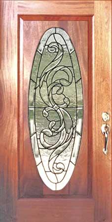 Hcc25 Oval Mahogany Door Beveled Leaded Glass Window