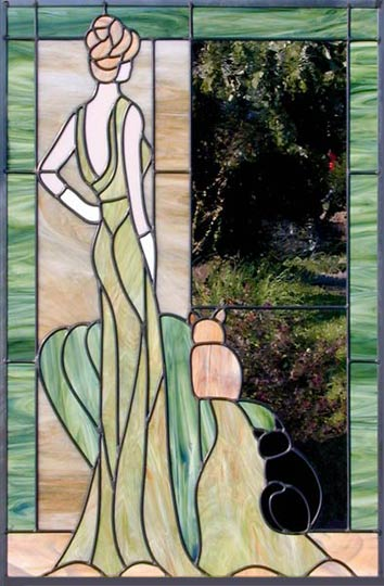 Lady 2 Cats Leaded Stained Glass Window Custom Glass Design