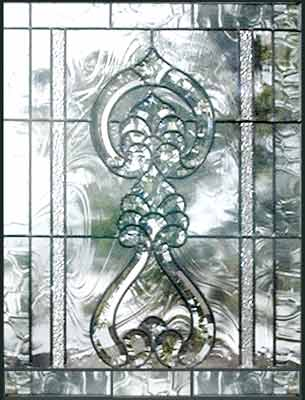 leaded glass bevel door window