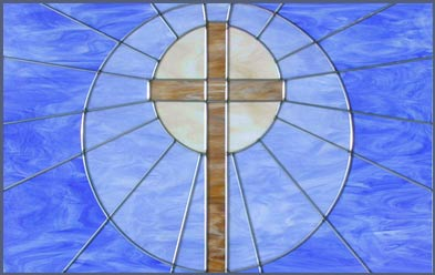 CHURCH CROSS STAINED AND LEADED GLASS WINDOW WAS CREATED FOR A IN HOUSTON TEXAS