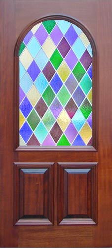 Colored Diamonds Stained Glass Door Window Custom Glass