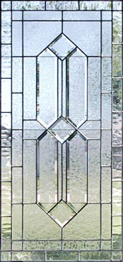 leaded glass window with gluechip double house bevels custom glass design