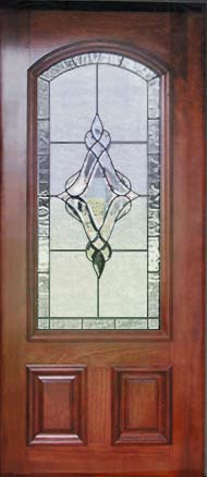 J18archd Mahogany Arched Door Leaded Glass Bevel Window