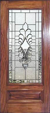Mahogany D101 door with custom leaded glass beveled window J13P4