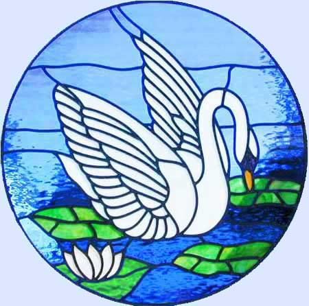 stained glass swan leaded glass circle window