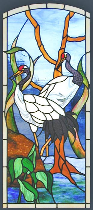 Oriental Cranes Leaded Stained Glass Window Custom Glass