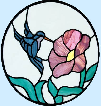 HUMMINGBIRD WITH FLOWER CIRCULAR STAINED GLASS WINDOW CUSTOM AT BY DESIGN