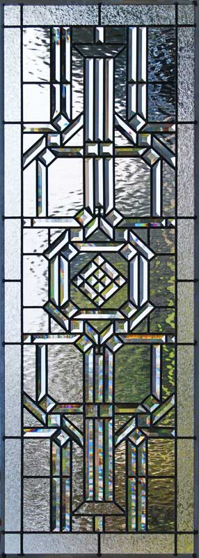 Custom leaded glass abstract pencil bevel window