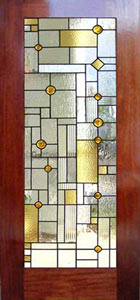 frank lloyd wright inspired stained and leaded glass door