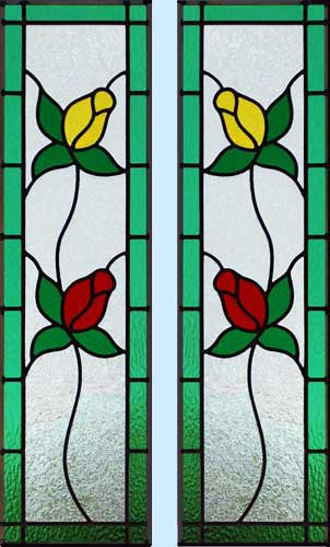 Custom stained and leaded glass rosebuds cabinet door window
