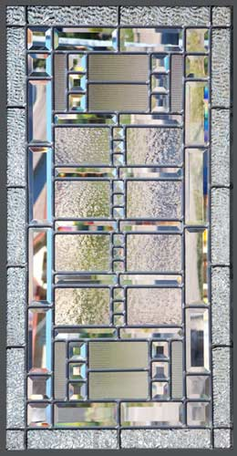 leaded glass beveled abstract window of clear textured glass