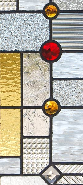 Custom abstract stained and leaded glass entry inspired by frank lloyd wright