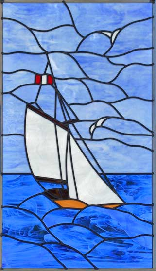 Sboat Leaded Stained Glass Sailboat Window Custom Glass Design